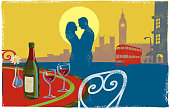 Romantic London Scene with couple kissing in textured print style