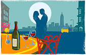 Romantic New York Scene with couple kissing in textured print style style