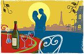 Romantic Paris Scene with couple kissing in textured print style style