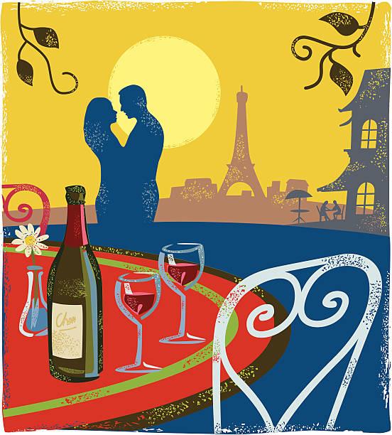 illustrazioni stock, clip art, cartoni animati e icone di tendenza di scena romantica a parigi - dinner couple restaurant