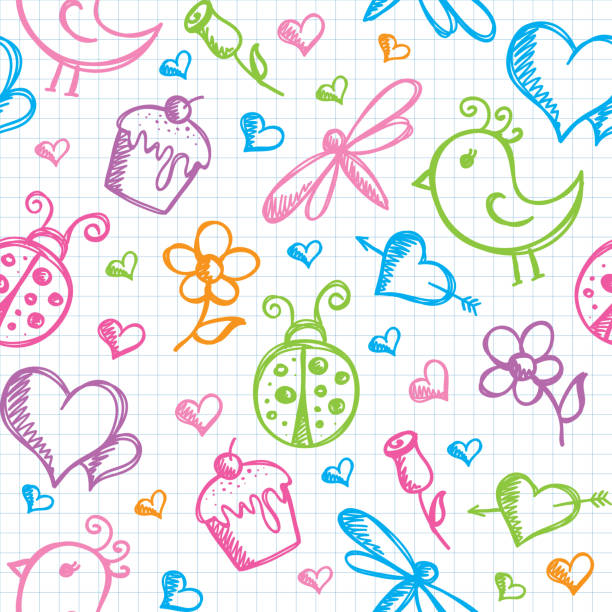 romantische nahtlose muster - schulbedarfskuchen stock-grafiken, -clipart, -cartoons und -symbole