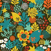 Romantic seamless pattern with cute vintage flowers and birds. Colorful vector background in retro style.
