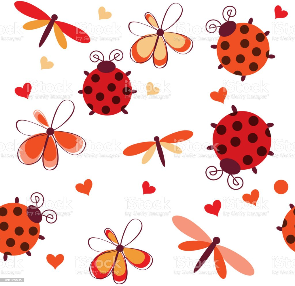 Romantic seamless pattern with dragonflies, ladybugs, hearts and flowers royalty-free stock vector art