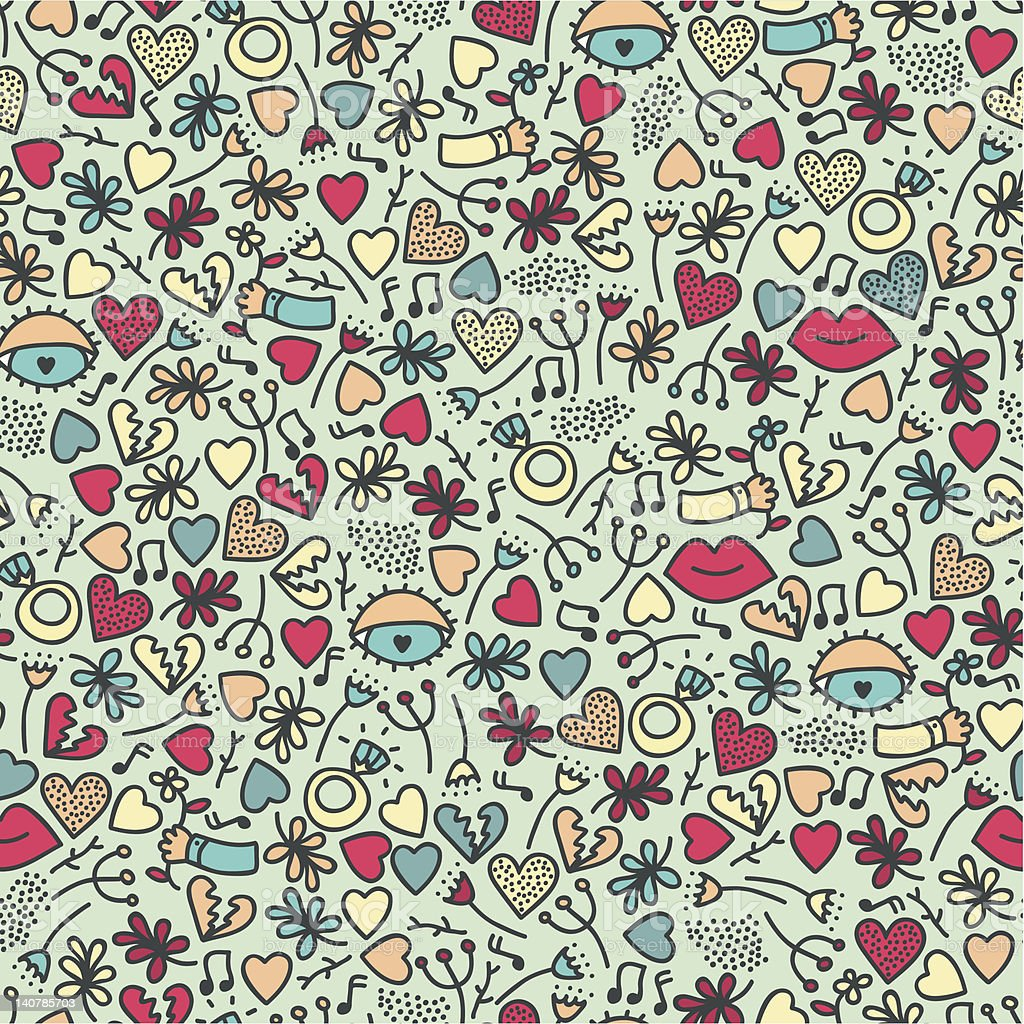 Romantic seamless pattern with lips. royalty-free stock vector art
