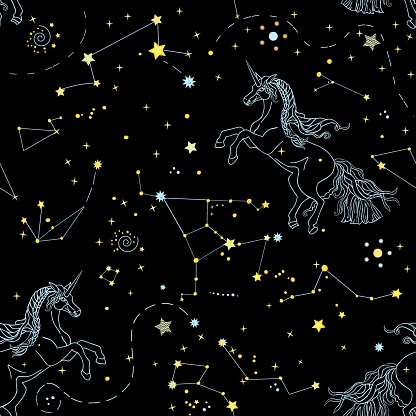 Romantic seamless pattern with space and linear contour unicorns on the blue background. Vector illustration