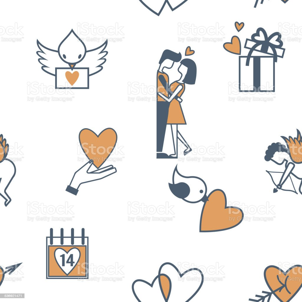 Romantic Seamless With Symbols Of Valentines Day Stock Vector Art