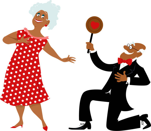 Romantic senior couple Senior man presenting a Valentine's Day cookie to a mature women, asking her for a date, EPS 8 vector illustration african american valentine stock illustrations