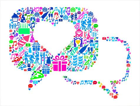 Romantic Speech Bubbles Birthday Celebration Vector Icon Pattern