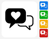 Romantic Speech Bubbles Icon Flat Graphic Design