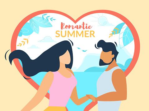 Romantic Summer Banner, Loving Happy Couple, Love