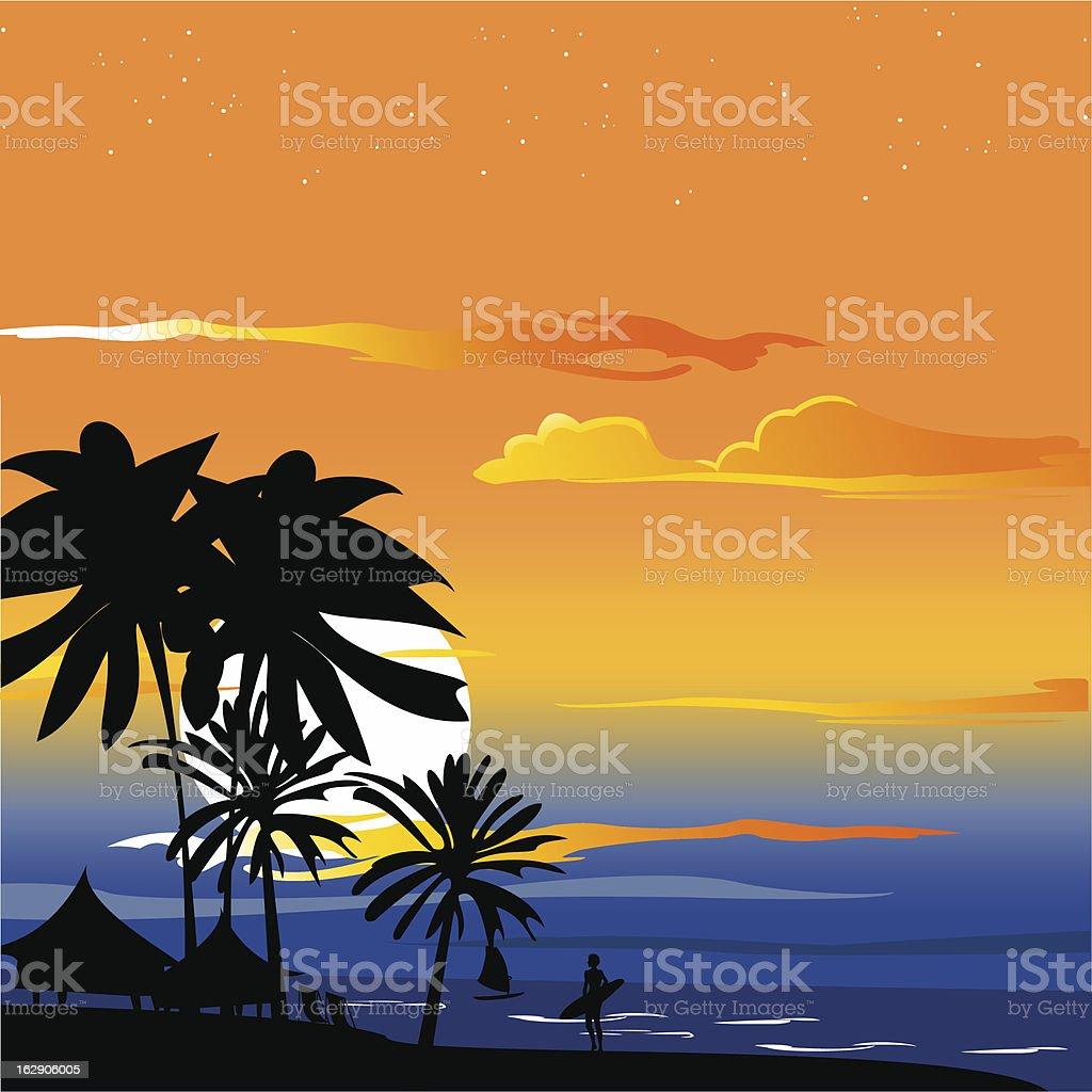 romantic Sunset royalty-free stock vector art