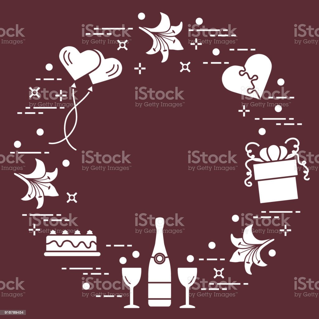 Romantische Symbole In Einem Kreis Angeordnet Geschenk Kuchen Lilie ...