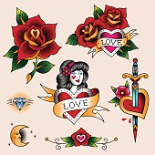Set of  romantic tattoos in traditional vintage style