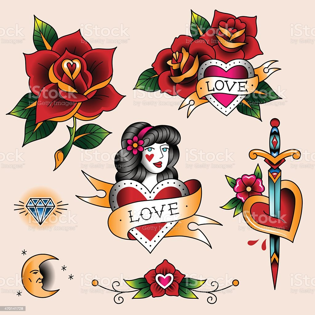 Romantische Tätowierungen – Vektorgrafik