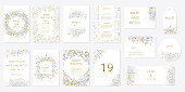 Romantic tender floral design for wedding invitation, save the date, I love you and thank you cards. Floral cards elegant templates. Set cards on white background. Vector illustration
