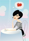 A beautiful lady is daydreaming while having a cup of coffee in one of the cafes of Paris.
