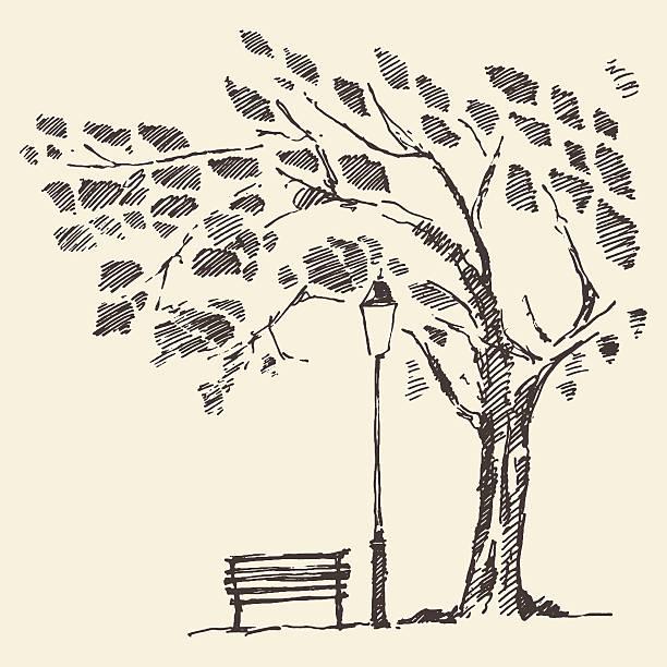 bildbanksillustrationer, clip art samt tecknat material och ikoner med romantic tree with bench lantern drawn sketch - bench