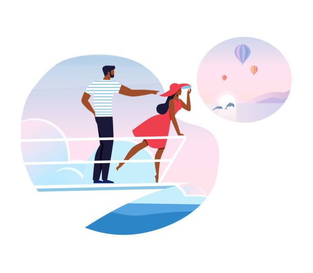 Romantic Vacation, Cruise Flat Vector Illustration Romantic Vacation, Cruise Flat Vector Illustration. Young Husband and Wife Cartoon Characters. Happy African American Couple, Tourists Standing at Ship Prow. Sea Tourism, Summer Holidays Journey cruise vacation stock illustrations