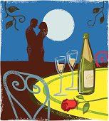 Romantic couple in restaurant.  Woodcut or hand print texture style. High res jpeg in the zip file