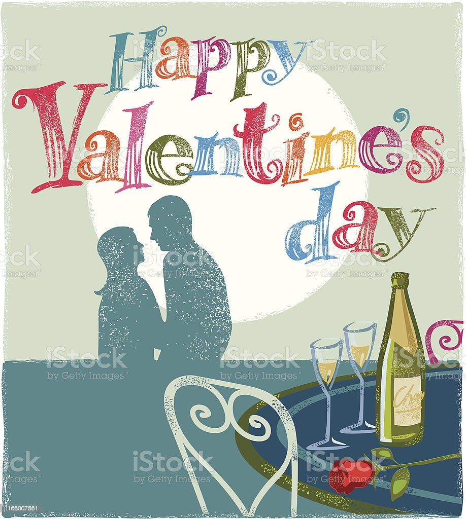 romantic valentines scene with message royalty-free stock vector art