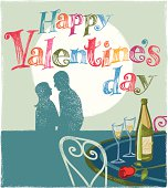 Romantic couple with valentines message.  Woodcut or hand print texture style. Eps10 CS3 and freehand versions in zip