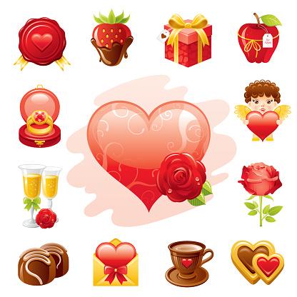Romantic Vallentine's icon set