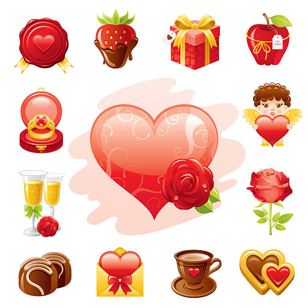 romantische vallentine icon-set - wackelpuddingkekse stock-grafiken, -clipart, -cartoons und -symbole