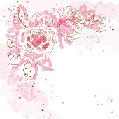 Abstract romantic vector background with three pink roses, can be used as background for flayer or wedding invitation