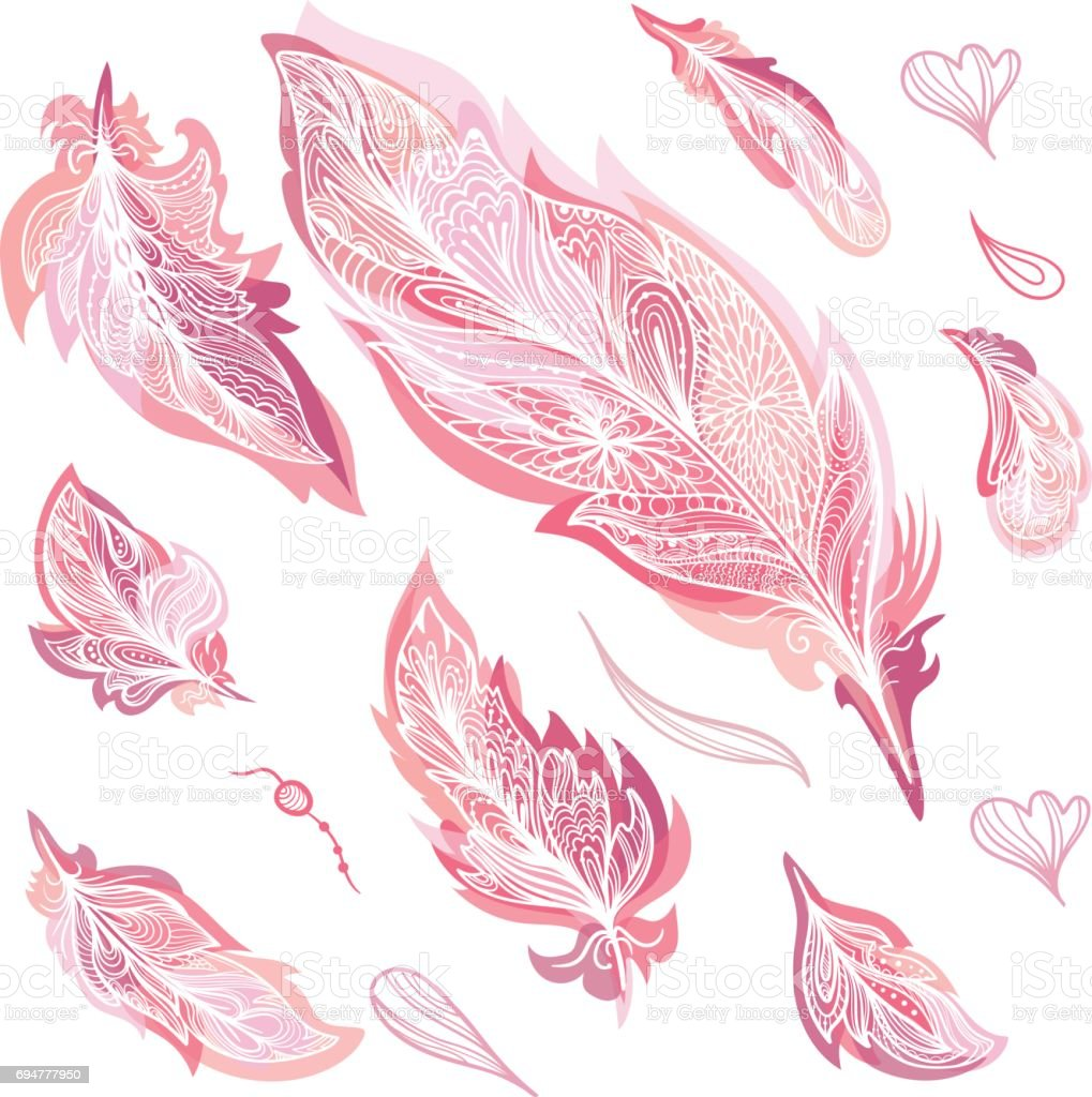 Romantic Vector Feathers Set vector art illustration