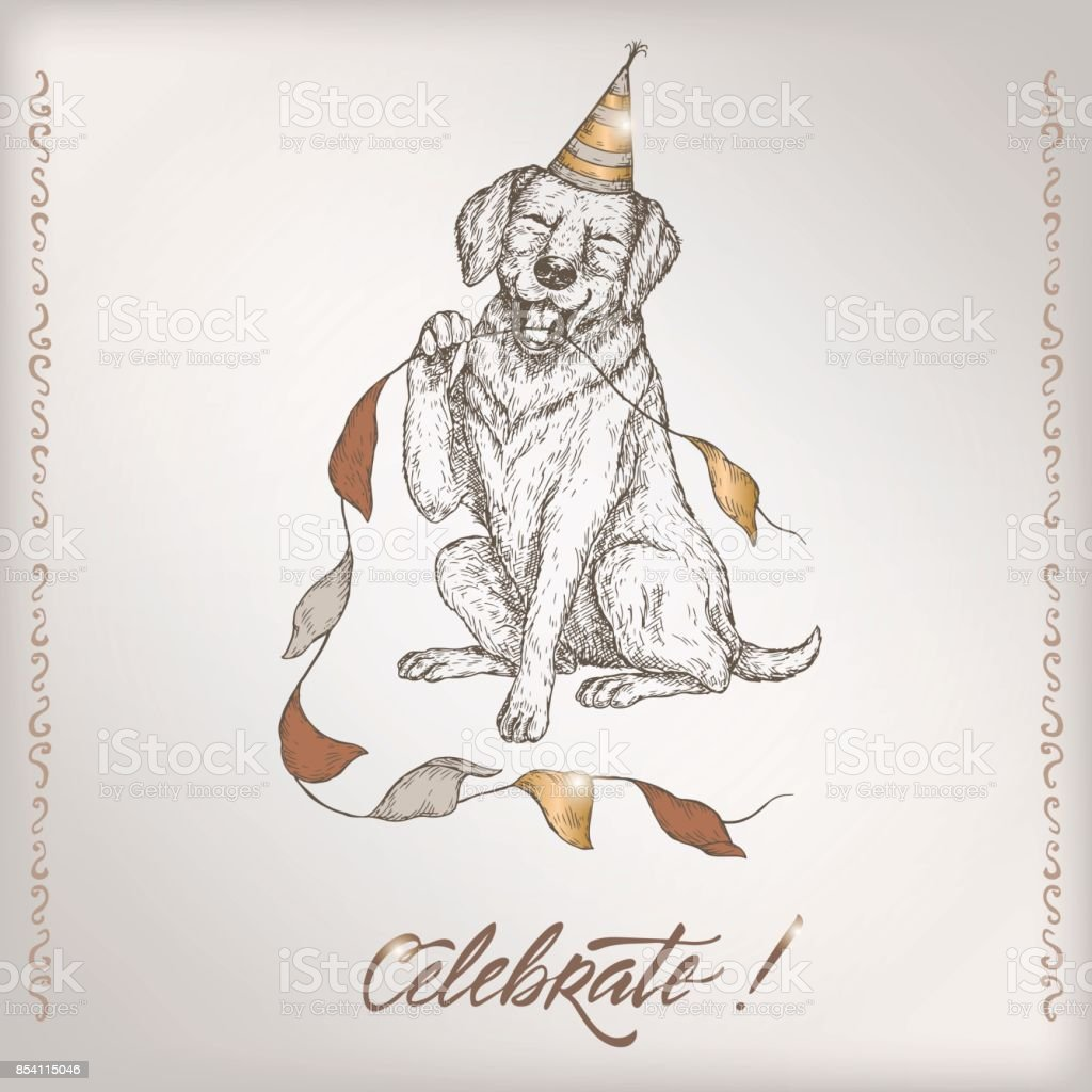 Romantic Vintage Birthday Card Template With Calligraphy Dog And ...