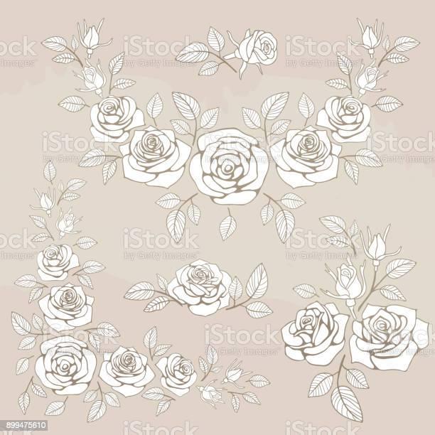 Romantic vintage bouquet with roses and leaves vector id899475610?b=1&k=6&m=899475610&s=612x612&h=flm41ki2pcellamqdvm0qclu8x z4jdft7n8vsy4vrw=