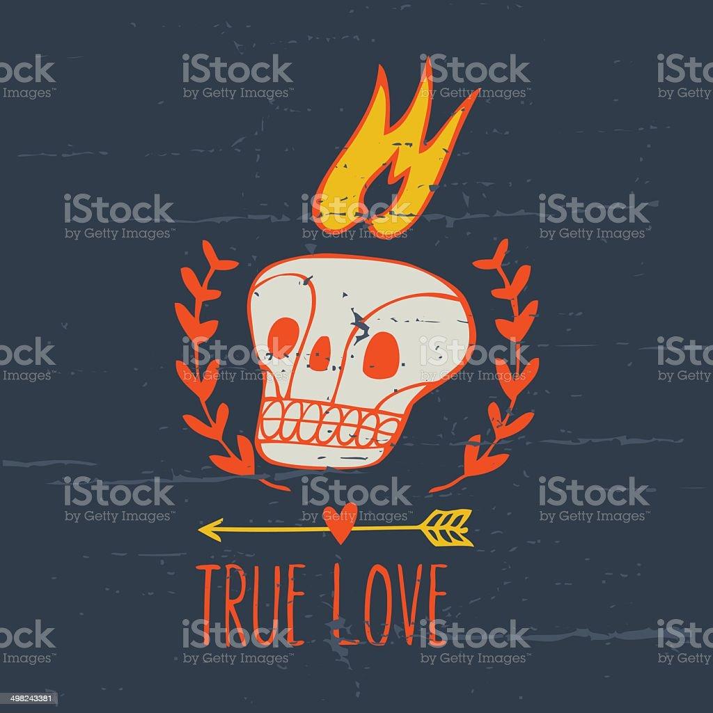 romantic vintage print with skull vector art illustration