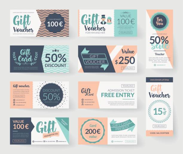 Romantic vintage style vector gift voucher templates Vector gift voucher illustrations. Vintage style design, romantic color palette, resources and elements.  Background template for gift card, discount coupon and entry ticket. coupon stock illustrations