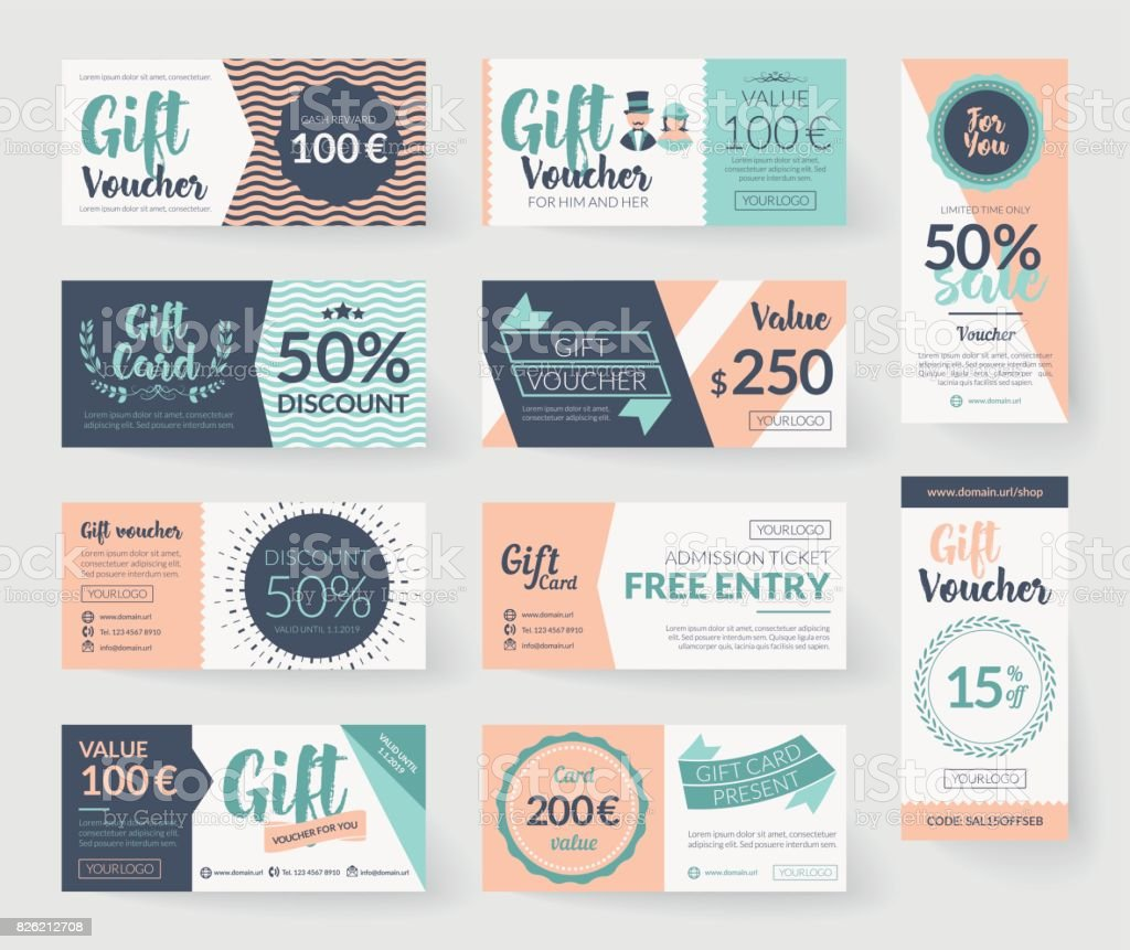 Romantic vintage style vector gift voucher templates vector art illustration