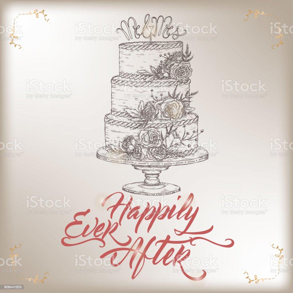 Romantic vintage wedding greeting card template with calligraphy and romantic vintage wedding greeting card template with calligraphy and cake sketch royalty free romantic m4hsunfo