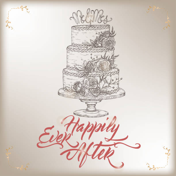 Romantic vintage Wedding greeting card template with calligraphy and cake sketch. Romantic vintage Wedding greeting card template with calligraphy and cake sketch. Great for bridal design. wedding cake stock illustrations