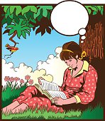 Romantic style illustration of an old fashioned young woman seating undre a tree and reading a book in company of a little bird. High resolution JPG and Illustrator 8 EPS included.