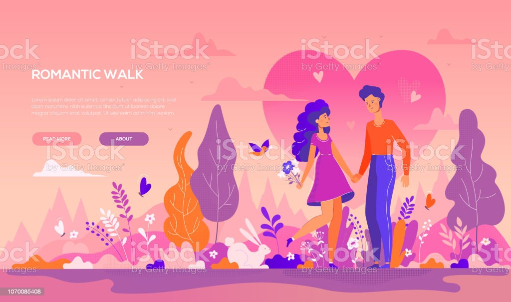 Romantic walk - modern flat design style banner royalty-free romantic walk modern flat design style banner stock illustration - download image now