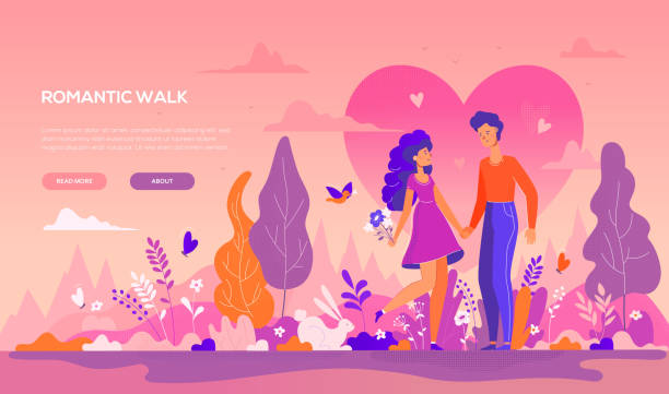romantic walk - modern flat design style banner - couple stock illustrations