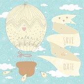 Romantic wedding card with a balloon and a ribbon. EPS 10. No transparency. No gradients.