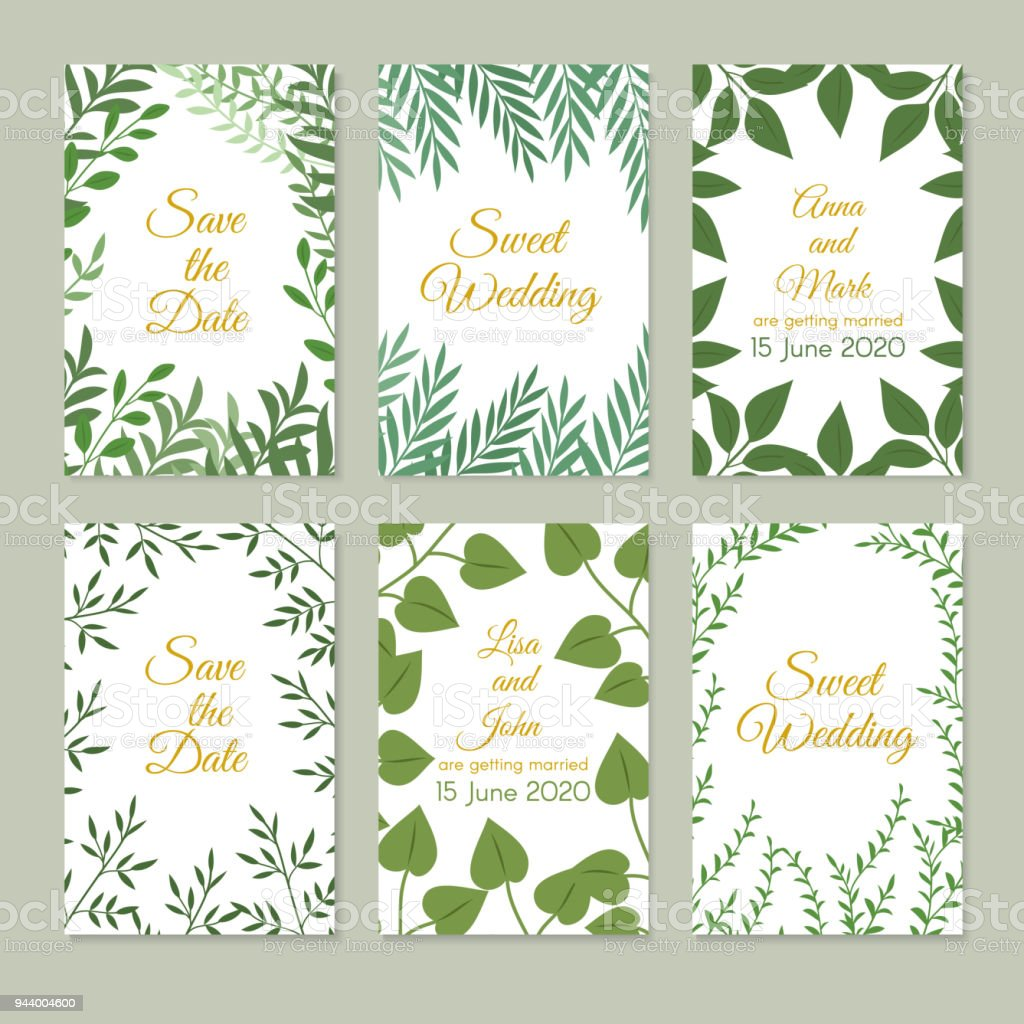 Romantic Wedding Invitation Cards With Green Garden Decoration