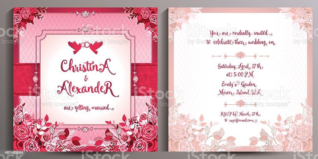 Ilustración De Invitación De Boda Románticas Tarjeta Floral
