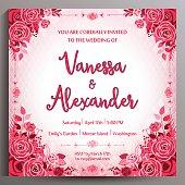 Romantic Wedding Invitation with red roses. Floral square card, size is 14.5x14.5 cm.