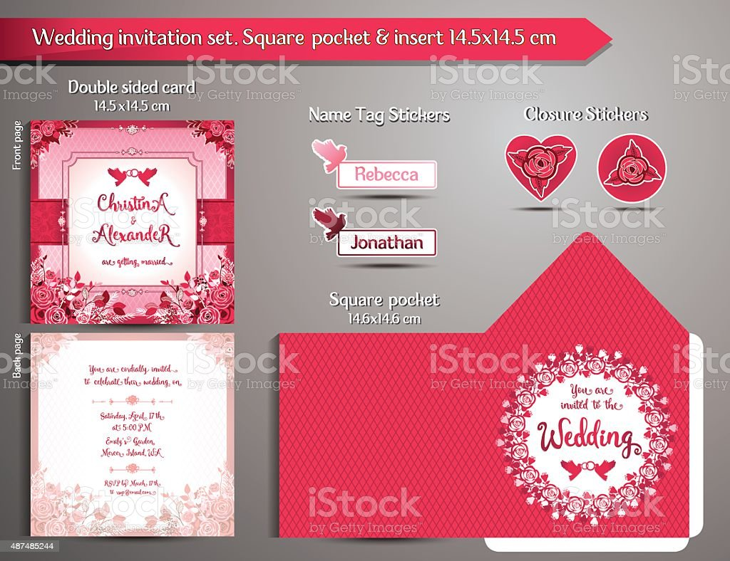 Romantic Wedding Invitation Set Square Pocket And Insert Card Stock ...