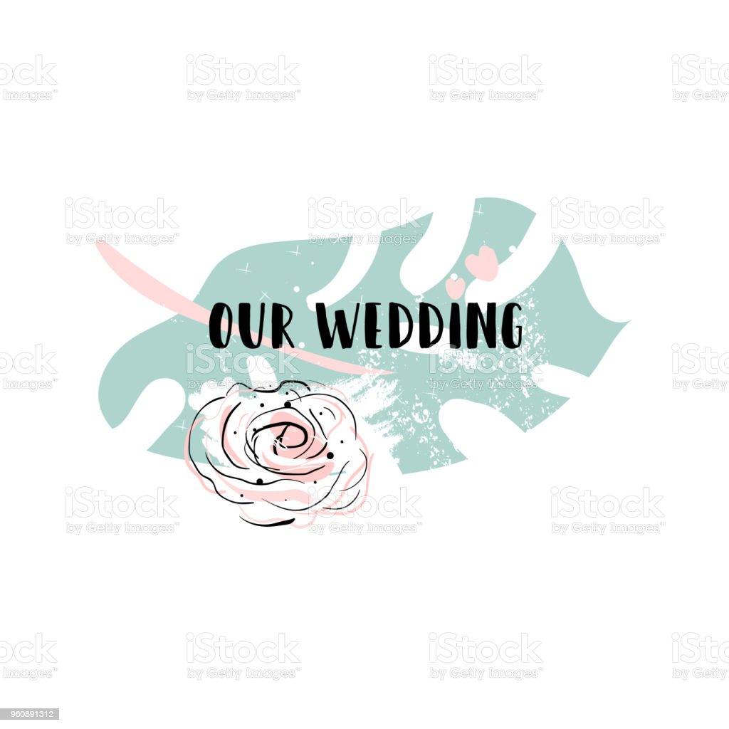 Romantische Hochzeit Palm Leaf Grenze - Lizenzfrei Alt Vektorgrafik