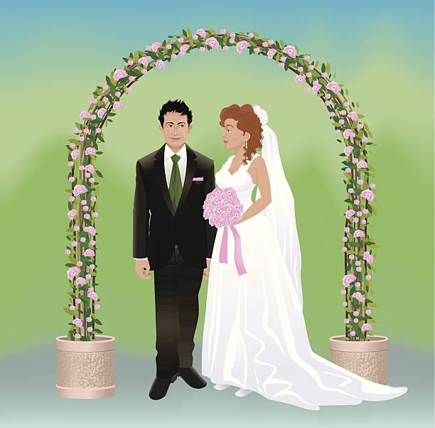 romantische hochzeit - rosenhochzeitskleider stock-grafiken, -clipart, -cartoons und -symbole