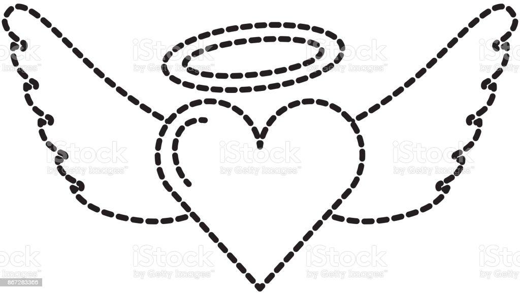 romantic winged heart love on valentines day vector art illustration