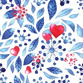 Watercolor illustration of romantic hearts, blue tree foliage and snow - vector seamless pattern