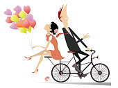 Smiling man and woman with many air balloons ride together on the bike and look happy isolated on white illustration