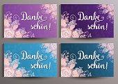 Romantische Danksagungskarte mit Blumen - Danke schön!